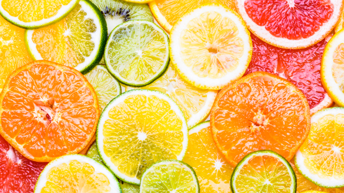 Slices of orange, grapefruit and lemon rich in vitamin C