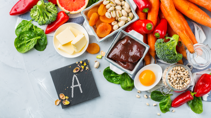Liver, butter and carrots rich in vitamin A and beta-carotene